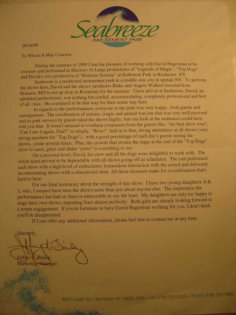 Seabreeze Amusement Park Reference Letter