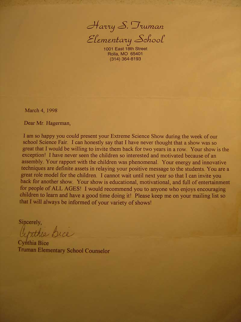 Harry S. Truman Elementary School Reference Letter